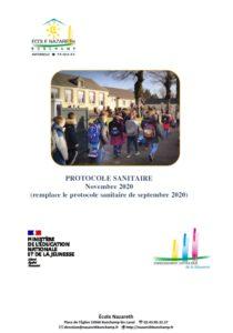 Read more about the article Protocole Sanitaire Novembre 2020